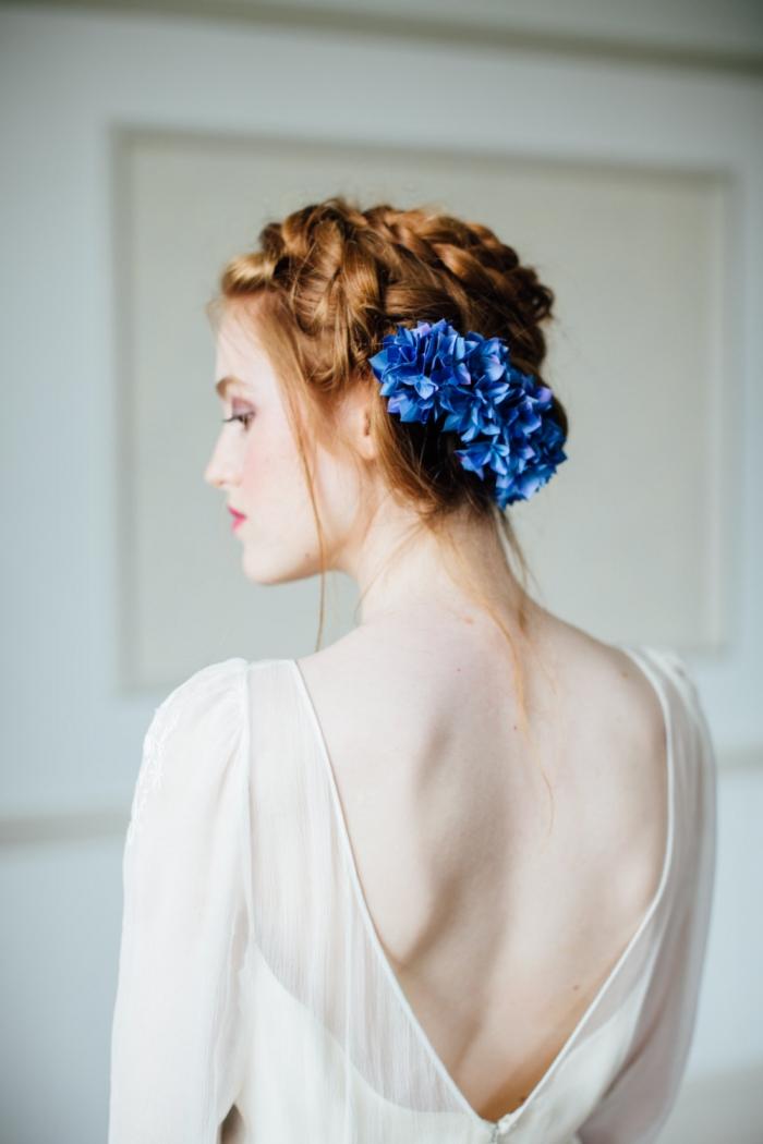 blue silk flowers