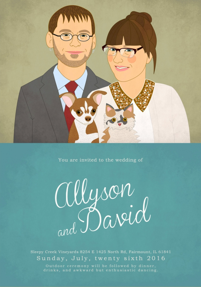 illustrated wedding invite