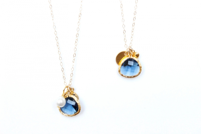 personalized navy pendant necklaces