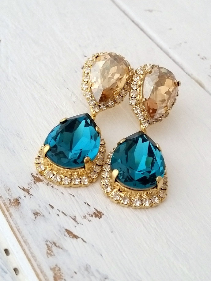 teal champagne earrings