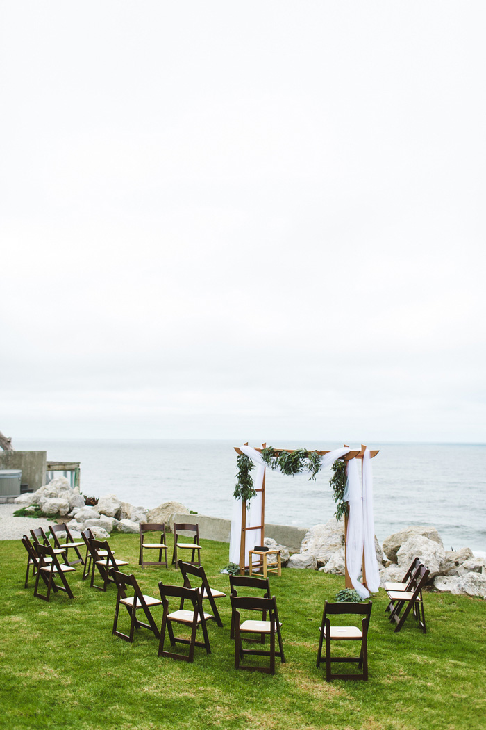 oceanfront wedding ceremony set-up