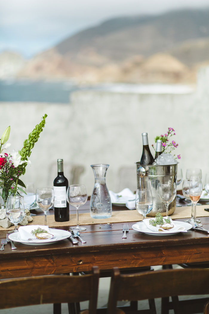 outdoor wedding table set-up