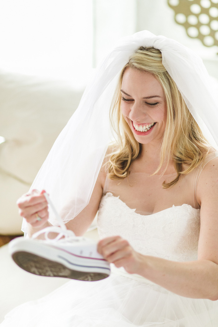 bride loosening sneaker laces