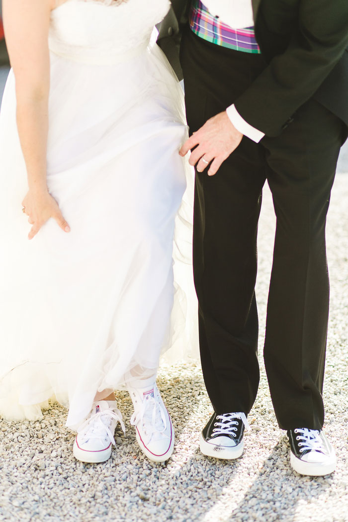 bride and groom wearing sneakers