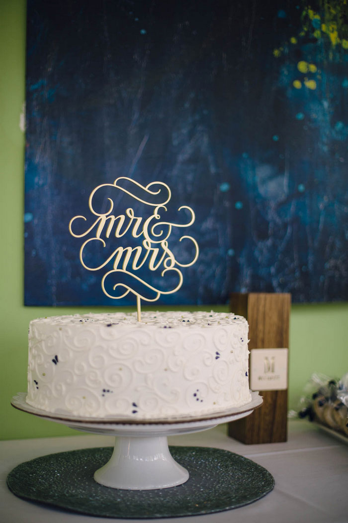 single layer wedding cake with Mr. & Mrs. cake topper