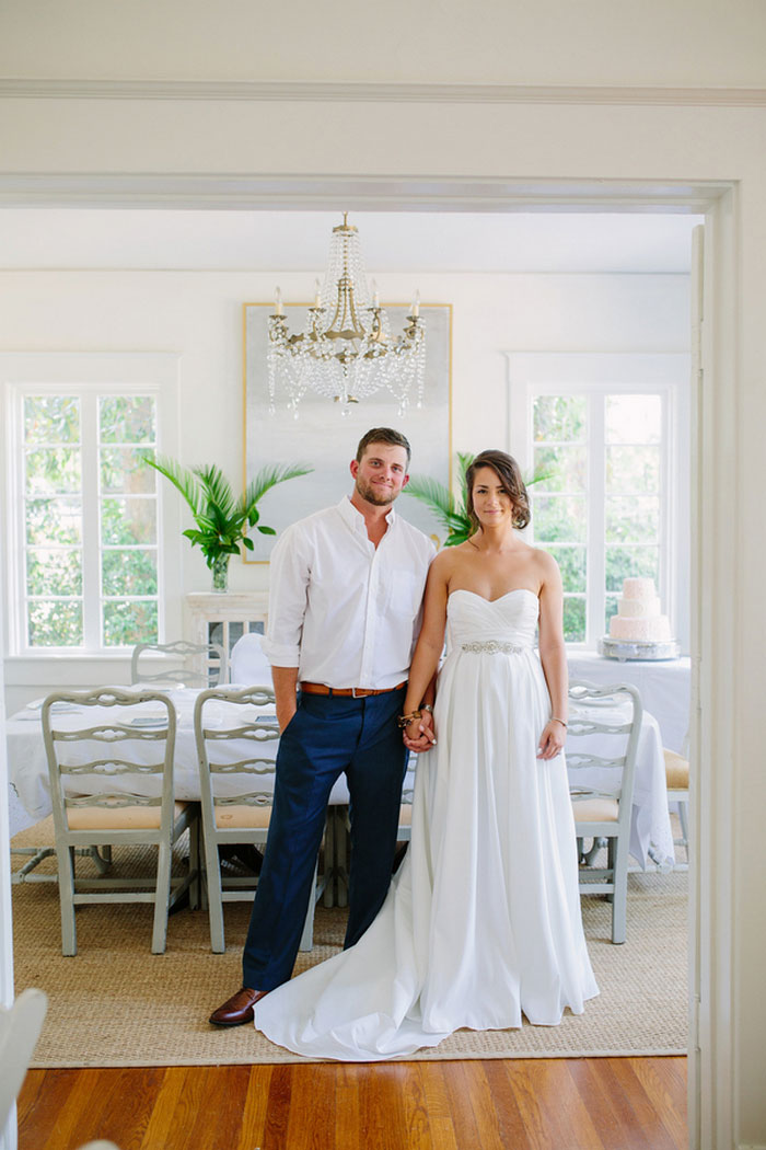 bride and groom portrait in dining room