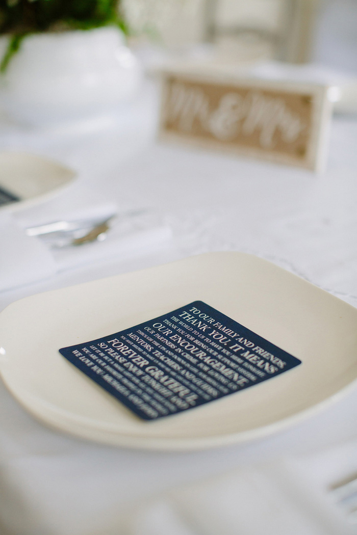 wedding thank you note on plate