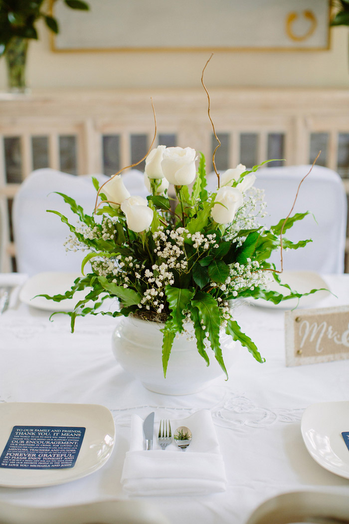 white tulip centrepiece