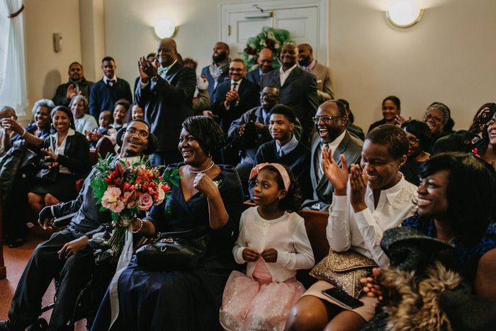 guests at courthouse wedding ceremony