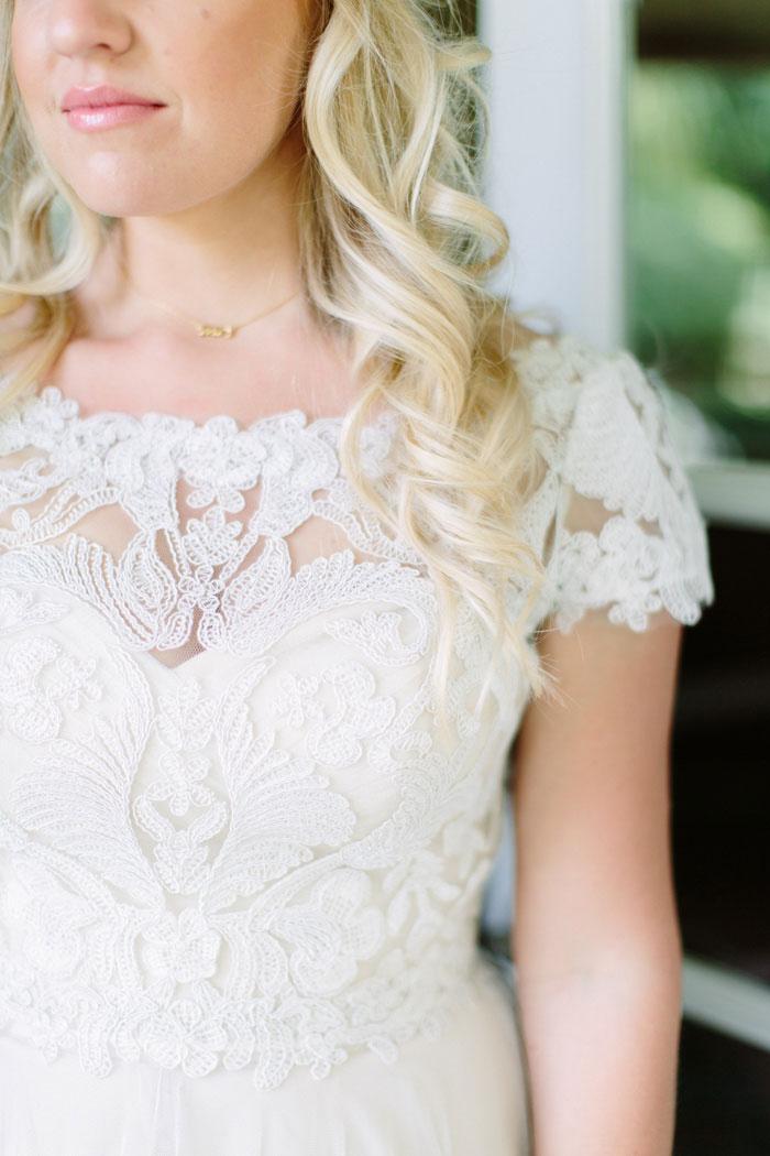 detail of bride's dress