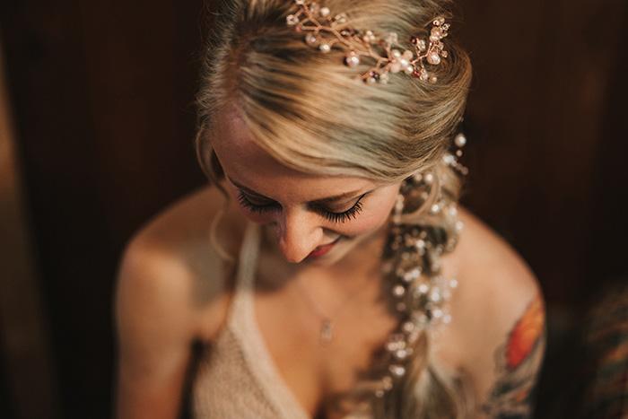 pearls in bride's hair