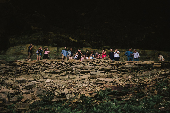 wedding guests on cliff