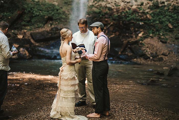 waterfall wedding ceremony