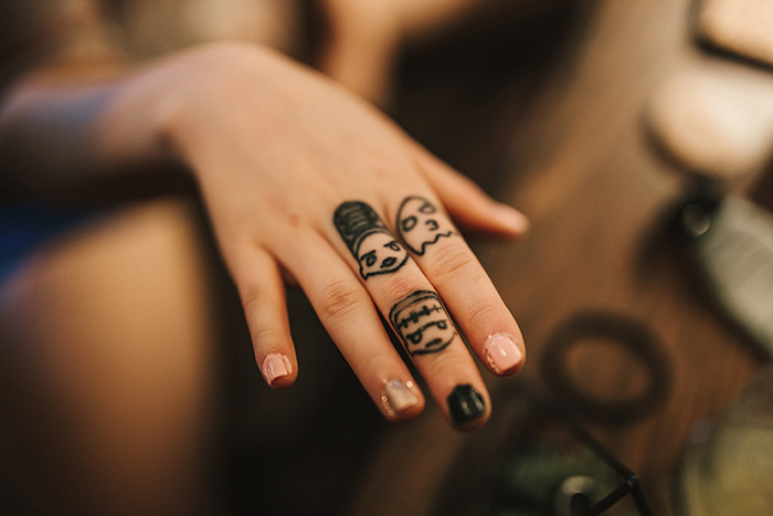 bride's tattooed hand
