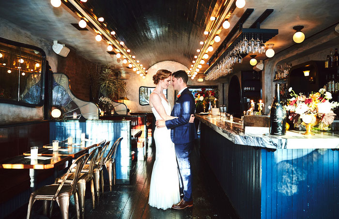 bride and groom portrait in restaurant