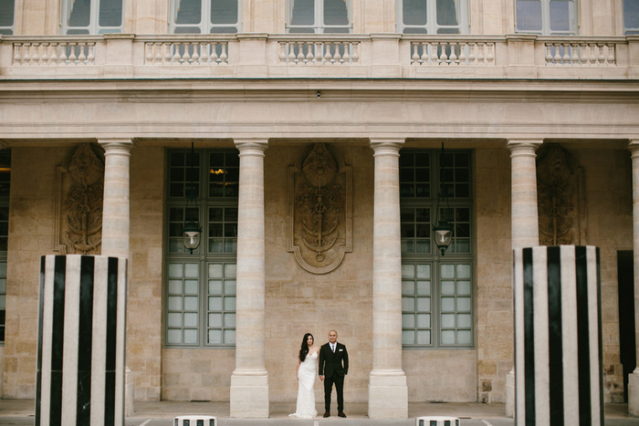 bride and groom portrait Paris