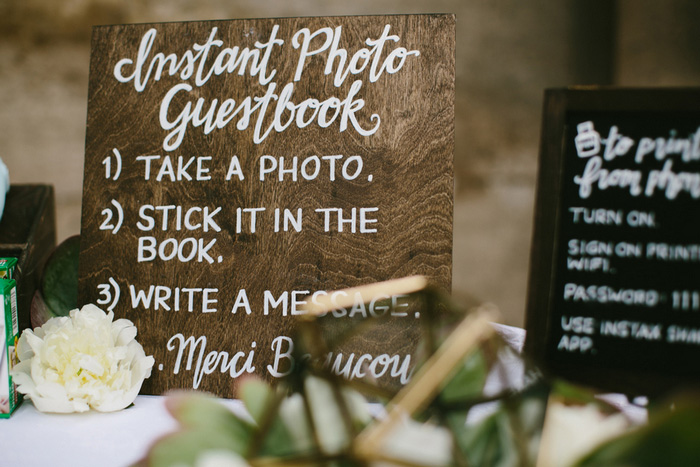 hand lettered guest book sign