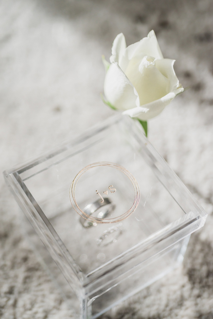 wedding ring in custom monogrammed box