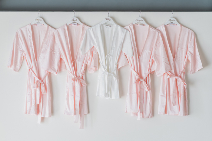 bridesmaids' robes hanging up
