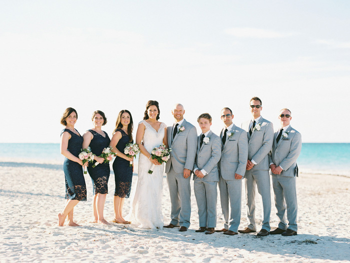 wedding party portrait on the beach
