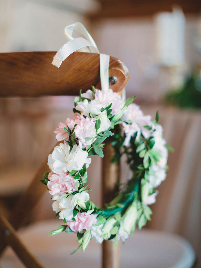 flower crown hanging on chair