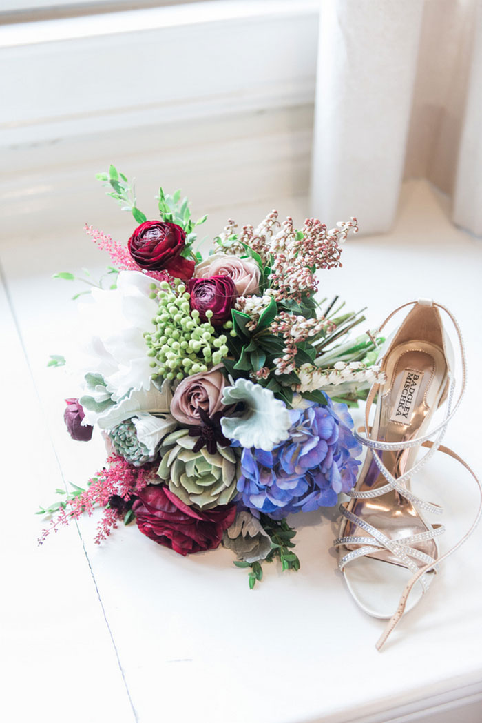 wedding bouquet and shoe