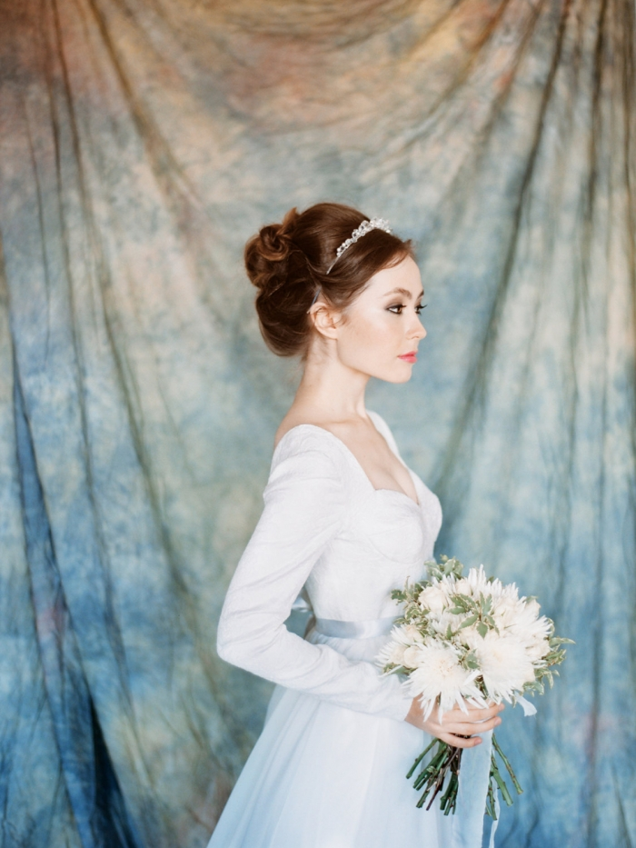blue winter wedding dress