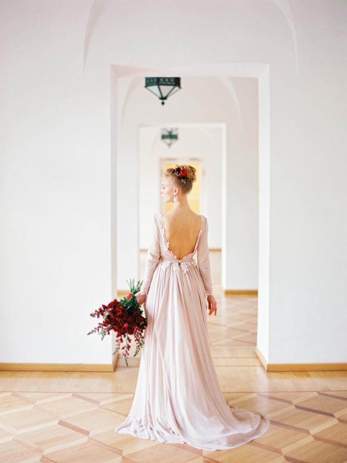 open back winter wedding dress