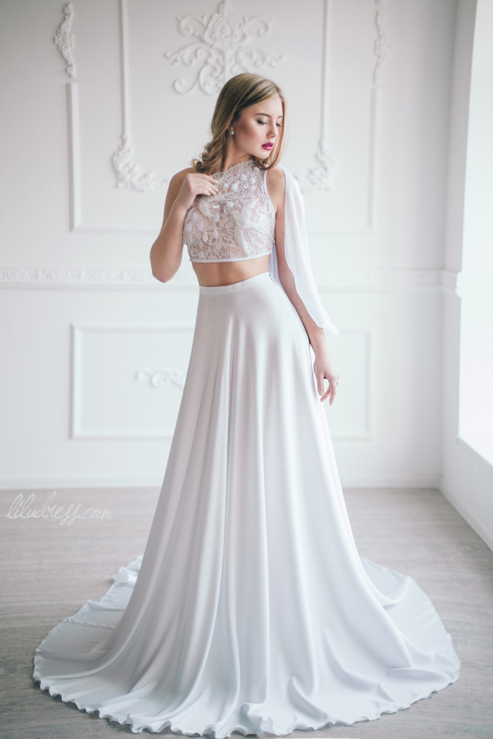 10 swoon worthy two piece wedding dresses from etsy for Simple wedding dresses for small wedding