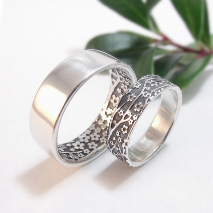 just cant choose between yellow white and rose gold you dont have to with this fabulous boho wedding ring set from dooziejewelry - Unique Wedding Ring Set