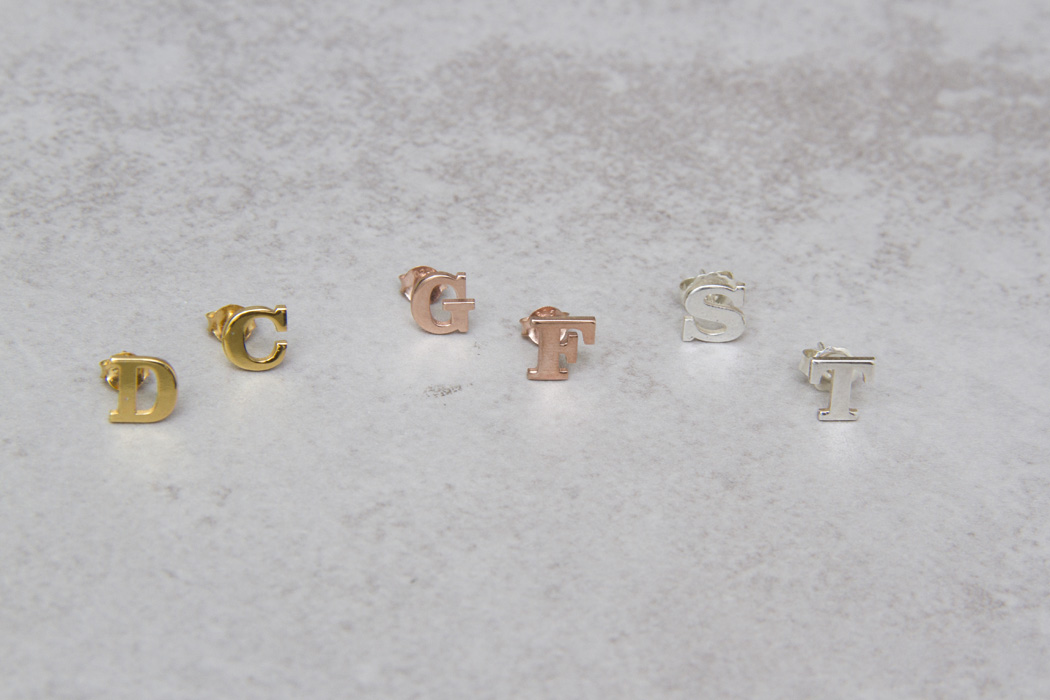 Block Letter Stud Earrings-gg