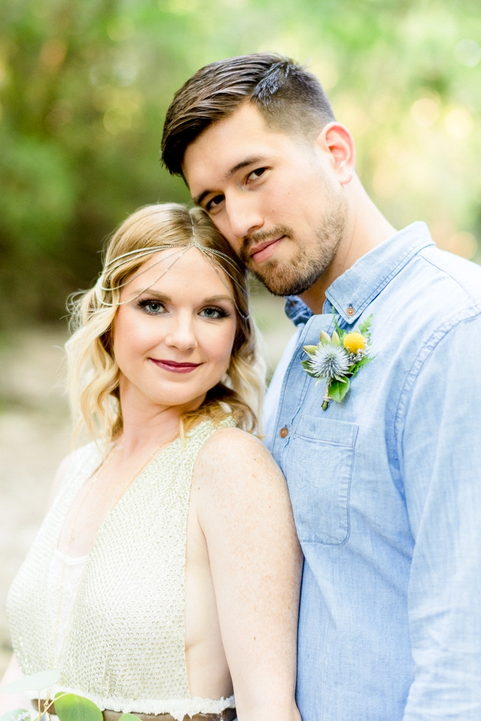styled creekside elopement