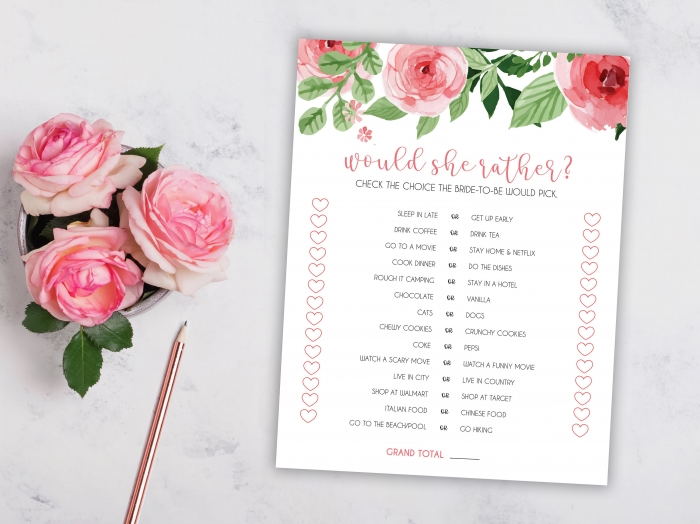 photograph regarding Would She Rather Bridal Shower Game Free Printable named 12 Interesting Bridal Shower Guidelines versus Etsy Romantic