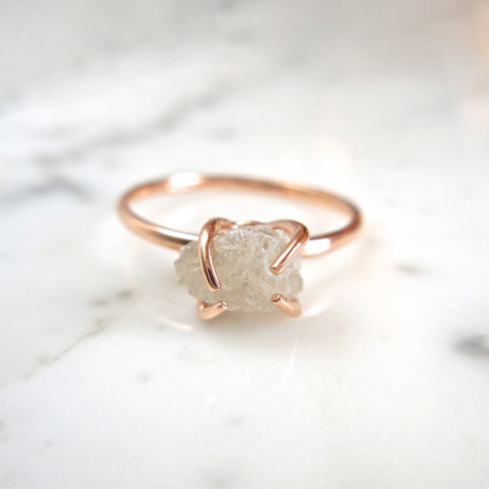 The Tree Branch Setting On This Raw Diamond Ring From Minimalvs Gives It An Elegant Twist