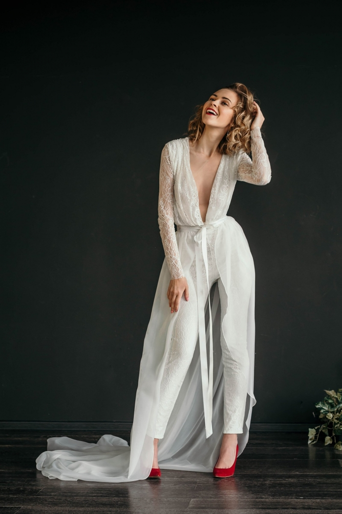 You Ll Love These Sophisticated Bridal Jumpsuits Intimate Weddings