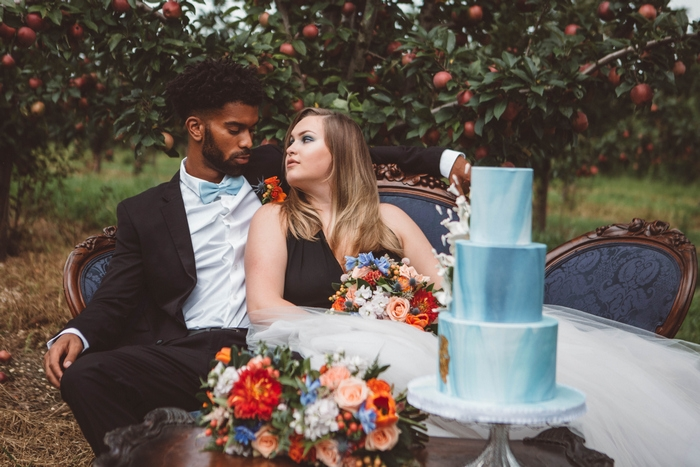 intimate wedding peach orchard
