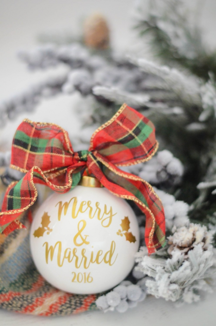 merry and married christmas ornament