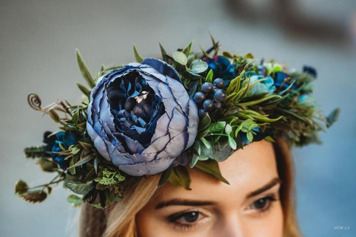 blue flower crown etsy bridal