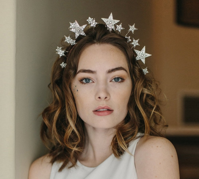 celestial bridal headpiece boho
