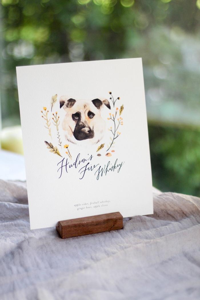 custom pet portrait signature pet cocktail sign wedding etsy reception decor