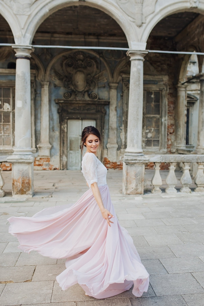 pink wedding dress etsy