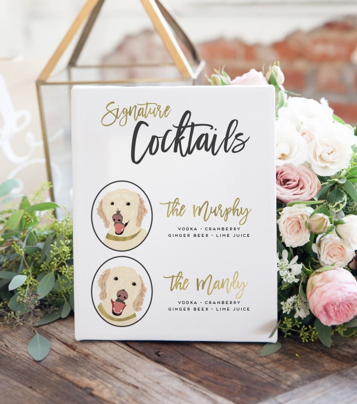signature pet cocktail wedding reception sign decor etsy