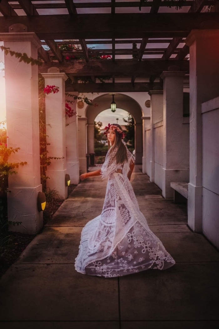 modern boho wedding dress lace etsy