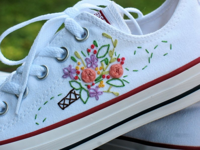 embroidered sneakers converse wedding shoes bridal sneakers etsy