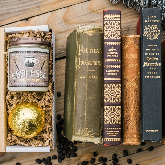my weekend is booked book lover gift box and coffee candle harry potter wedding bridesmaid gift