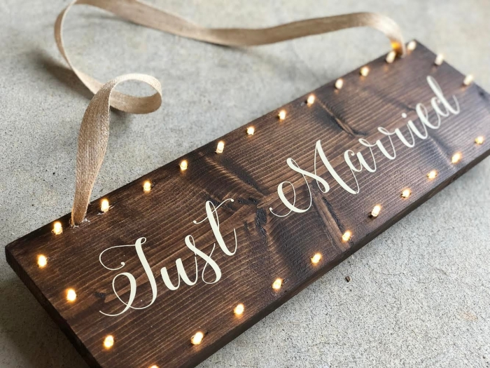 just married wedding car sign etsy