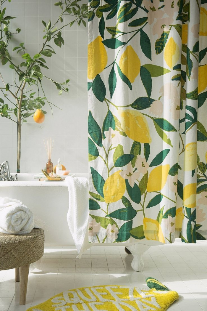 lemon shower curtain urban outfitters