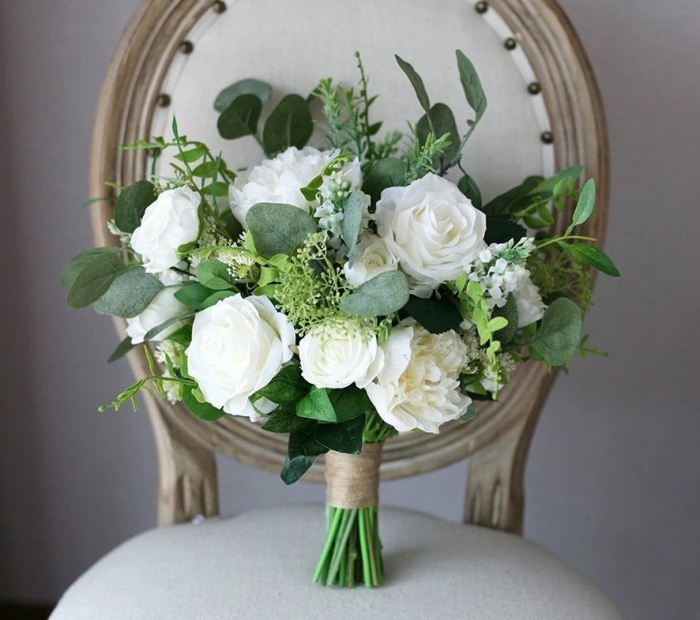 classic wedding bouquet white and green etsy