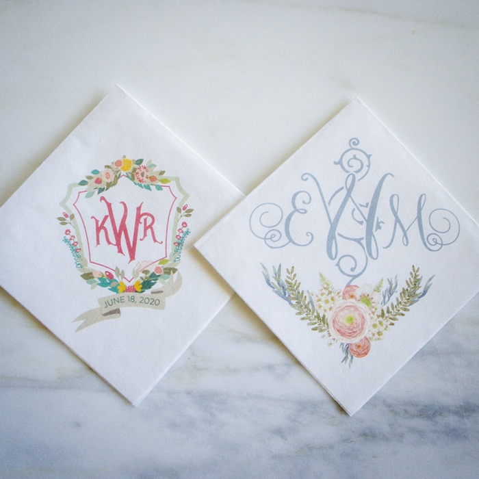 custom wedding napkins monogrammed