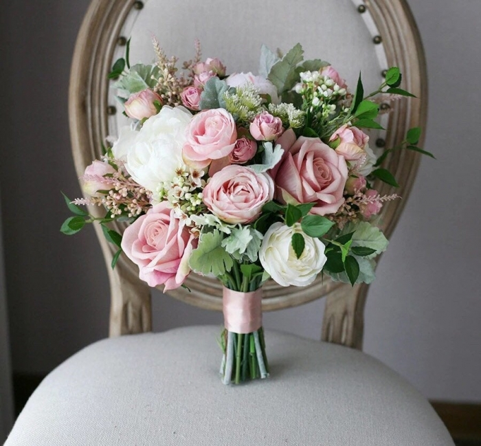 pink white and green wedding bouquet etsy fake flower bouquet